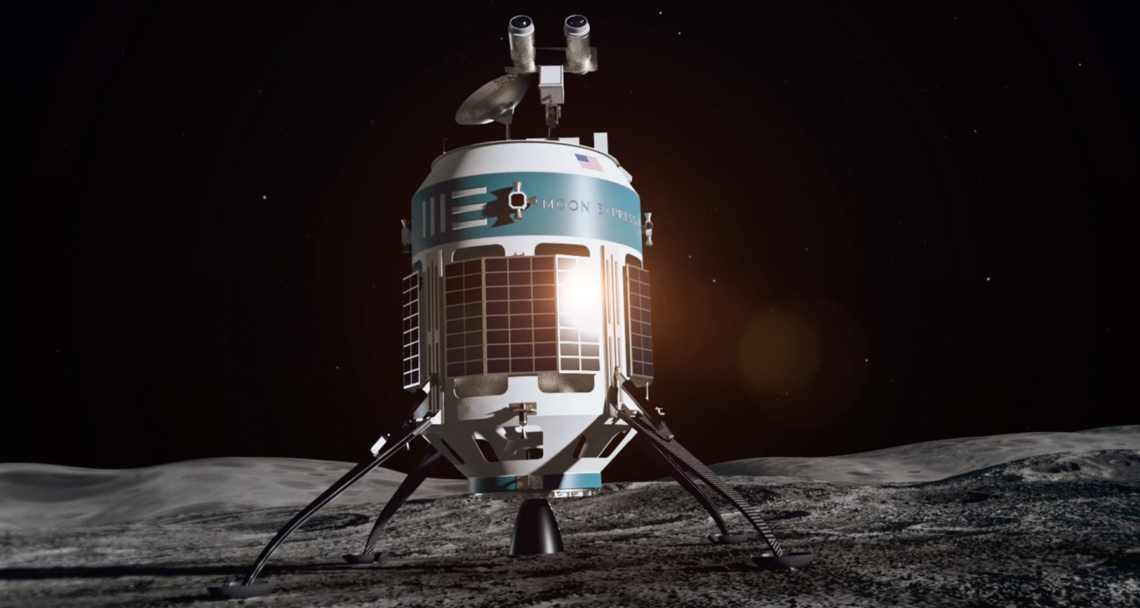 Moon Express: Artist's rendering of the MX-1 shortly after landing on the Moon.