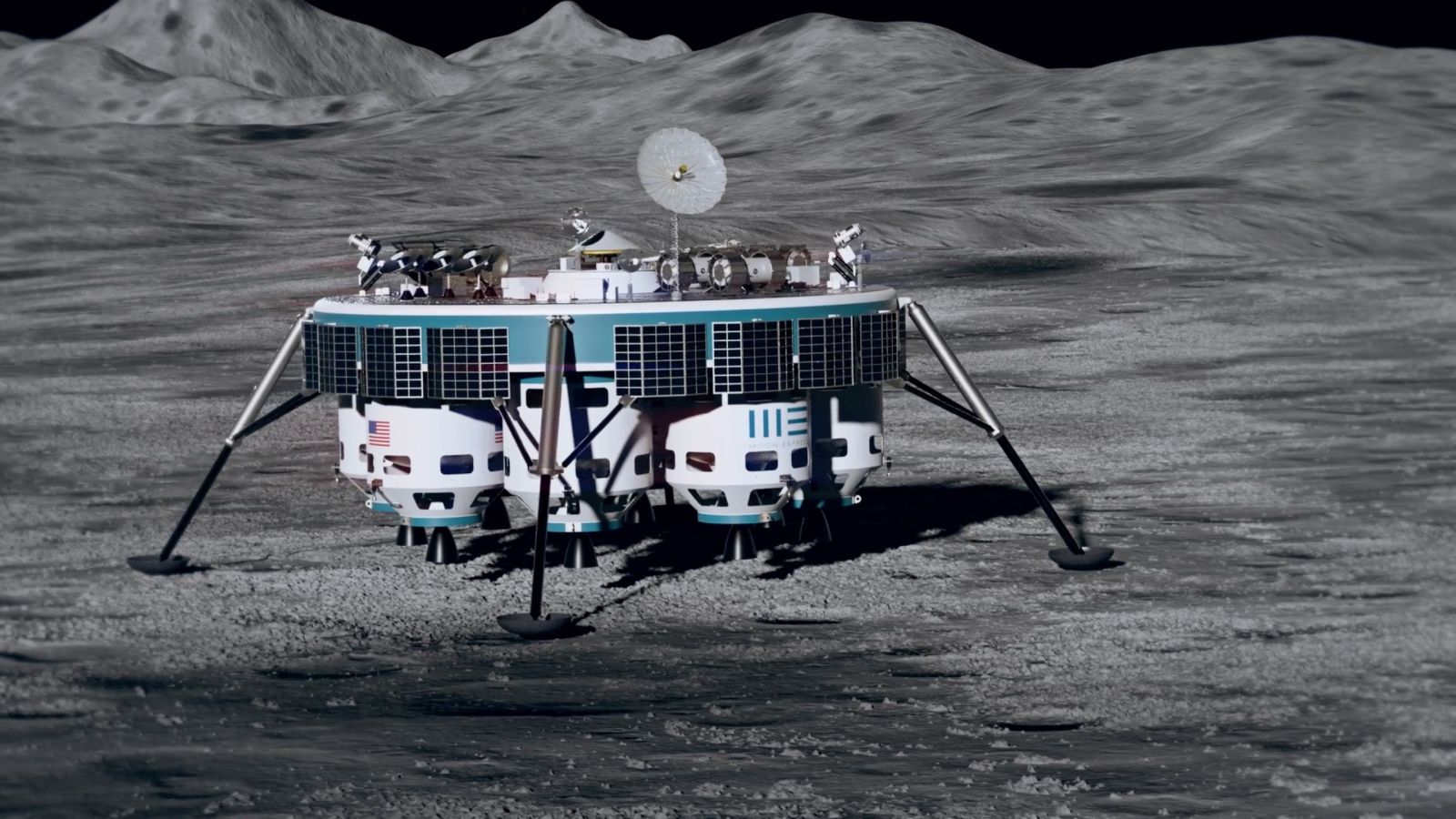 Moon Express: Artist's rendering of the MX-9 preparing to gather a lunar sample.
