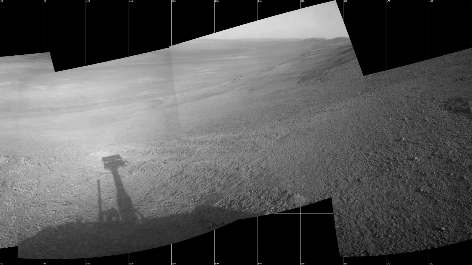 Opportunity's View Down 'Perseverance Valley' After Entry at Top