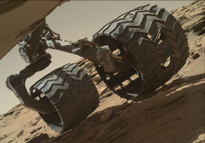 Curiosity's wheels have received considerable damage since the rover touched down on the surface of Mars in 2012. Photo Credit: NASA / JPL