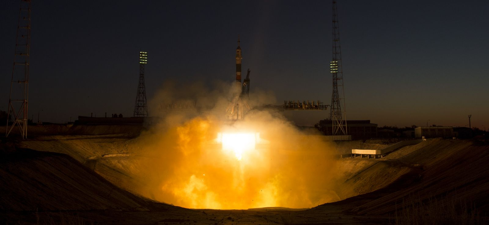The Soyuz MS-05 rocket is launched with Expedition 52 flight engineer Sergei Ryazanskiy of Roscosmos, flight engineer Randy Bresnik of NASA, and flight engineer Paolo Nespoli of ESA (European Space Agency), Friday, July 28, 2017, at the Baikonur Cosmodrome in Kazakhstan. Ryazanskiy, Bresnik, and Nespoli will spend the next four-and-a-half months living and working aboard the International Space Station. (Click to enlarge) Photo & Caption Credit: Joel Kowsky / NASA