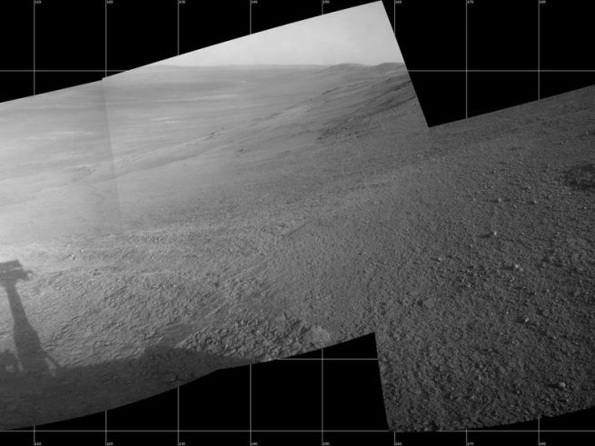 "This July 7, 2017, scene from the Navcam on NASA's Opportunity Mars rover shows a view from the upper end of ""Perseverance Valley"" on the inner slope of Endeavour Crater's rim. Image Credit: NASA/JPL-Caltech"