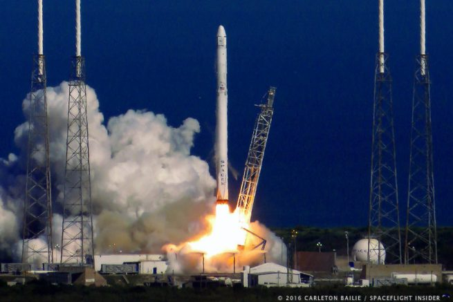SpaceX Falcon 9 with NASA's CRS-8 mission lifts off from Cape Canaveral Air Force Station Space Launch Complex 40 in Florida. Photo Credit Carleton Bailie SpaceFlight Insider