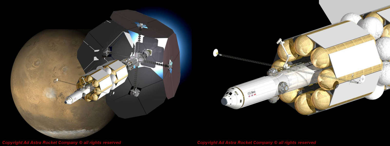 Artist's impression of a 200-megawatt VASIMR spacecraft. Images Credit: Ad Astra Rocket Company