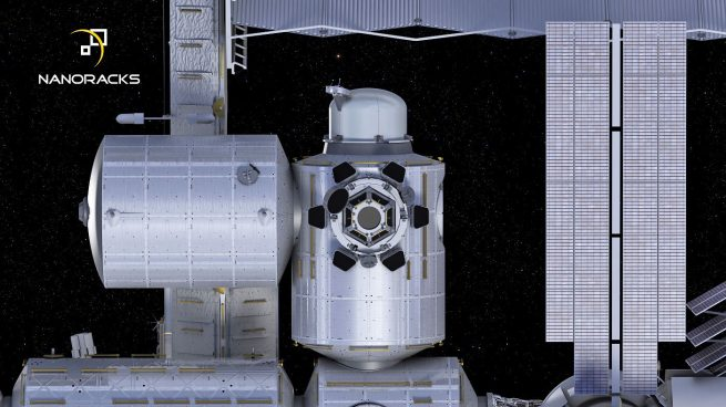 Artist's rendering of NanoRacks Airlock Module attached to ISS.