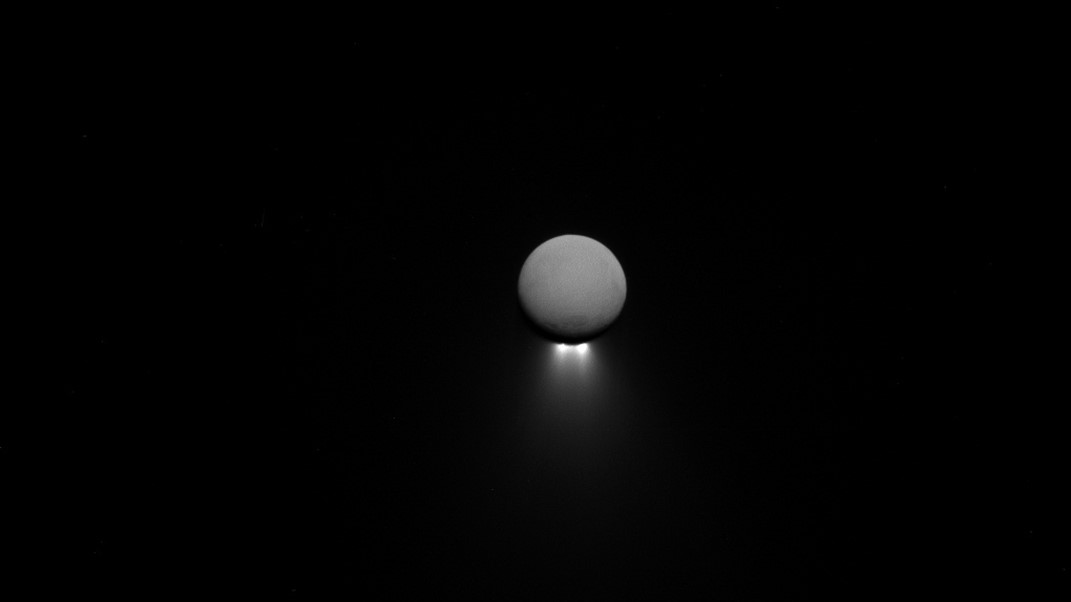 Jets emanate from the south pole of Saturn's moon Enceladus. Photo Credit: NASA / JPL-Caltech / Space Science Institute