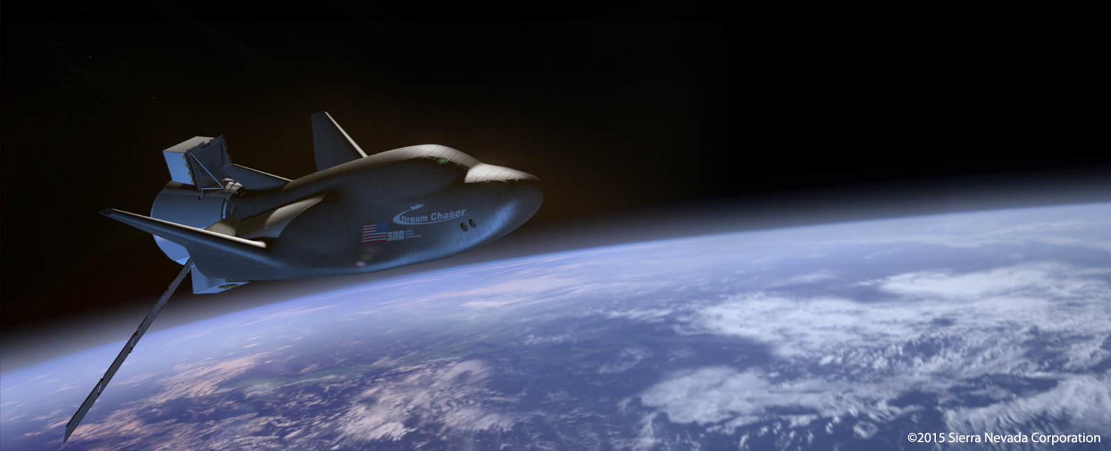 Dream Chaser in orbit. Image Credit SNC