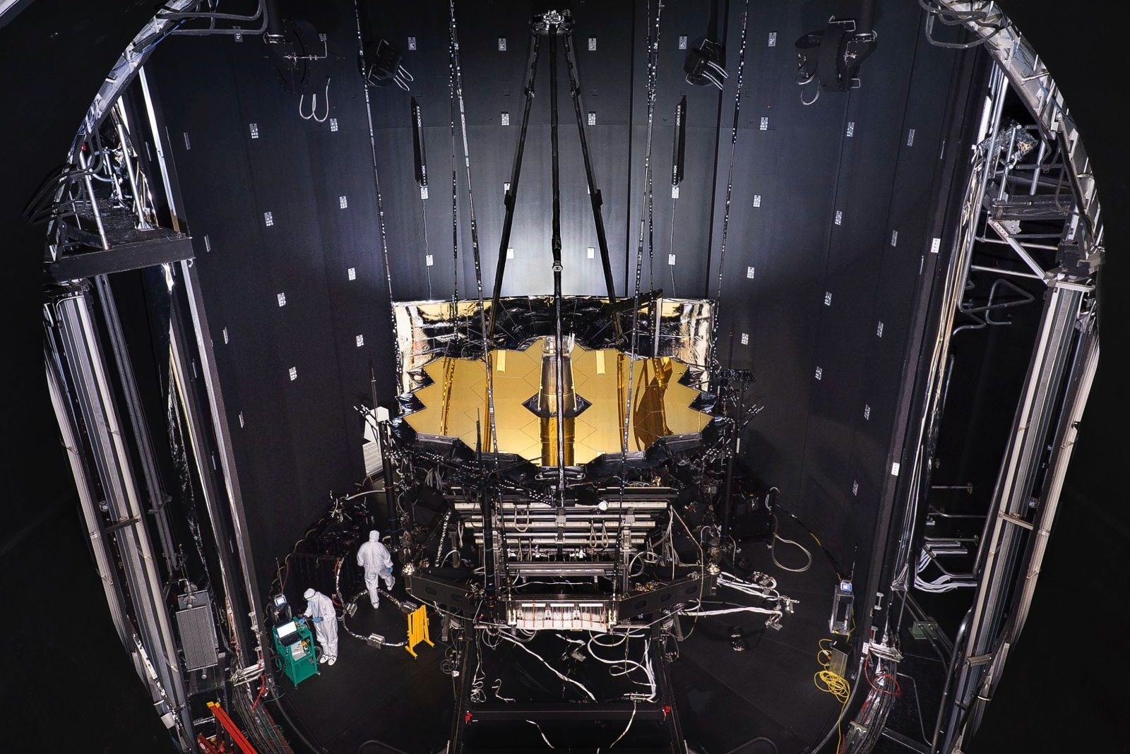 NASA's James Webb Space Telescope hangs from the ceiling of Chamber A at NASA's Johnson Space Center in Houston. Photo Credit: NASA/Chris Gunn