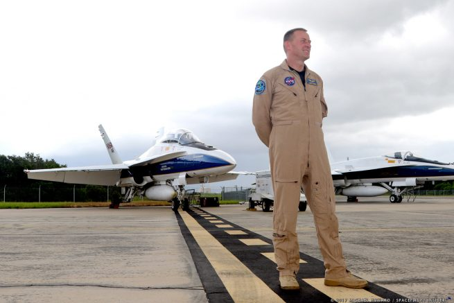 NASA F-18 pilot Jim Less has completed some four of the 10 flights being conducted as part of the space agency's SonicBAT program, which is currently being held at Kennedy Space Center in Florida. Photo Credit: Mike Howard / SpaceFlight Insider