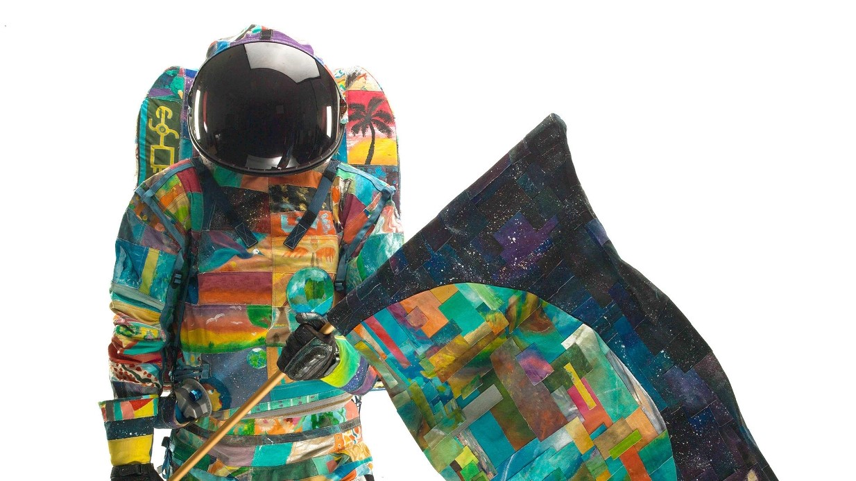 The HOPE spacesuit. A third spacesuit, UNITY will be unveiled by the crew of the International Space Station. Photo Credit: MD Anderson Cancer Center / Spacesuit Art Project