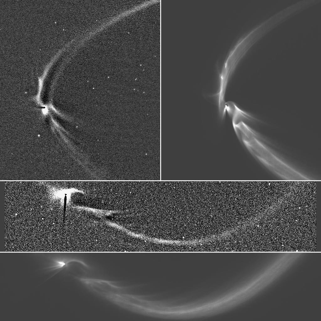 This collage, consisting of two Cassini images of long, sinuous, tendril-like features from Saturn's moon Enceladus and two corresponding computer simulations of the same, illustrates how well the structures, and the sizes of the particles composing them, can be modeled by tracing the trajectories of tiny, icy grains ejected from Enceladus' south polar geysers. Image & Caption Credit: NASA/JPL-Caltech/Space Science Institute