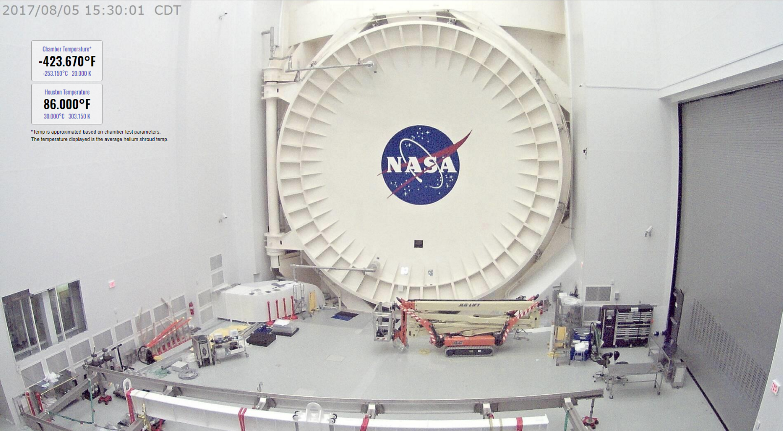 The James Webb Space Telescope is chilling in Chamber A