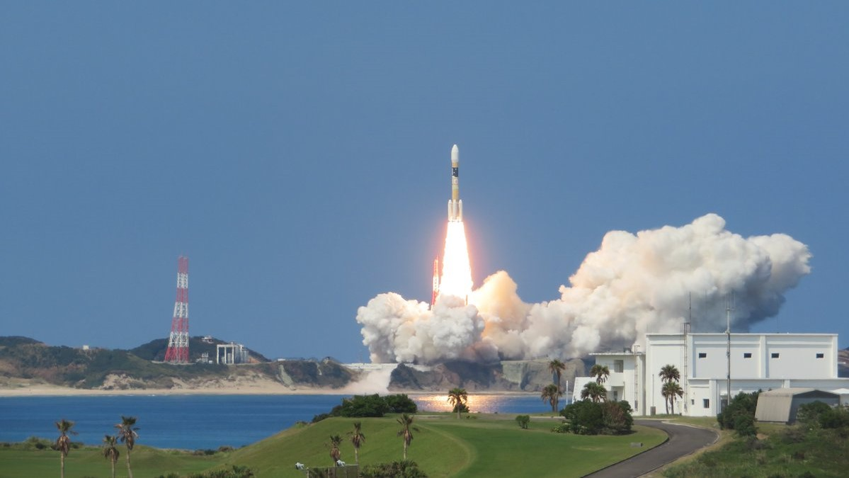An H-IIA 204 rocket launches the Michibiki-3 satellite into space. Photo Credit: JAXA
