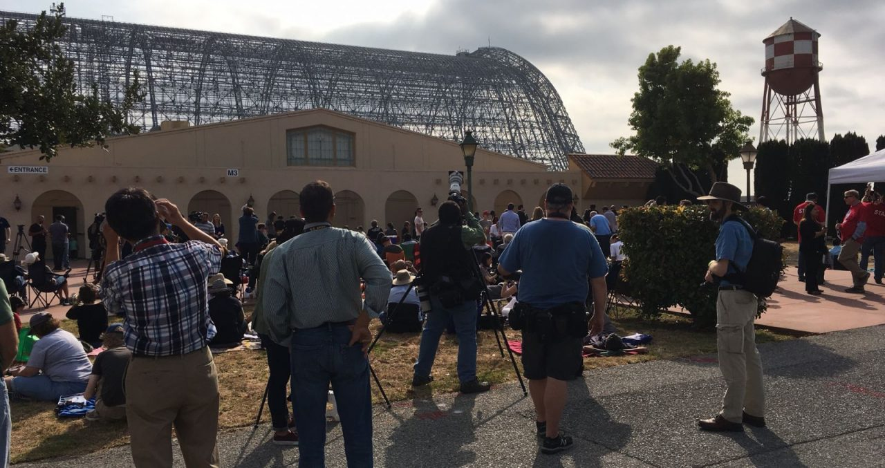 Eclipse viewing: Photographers setting up outsider the NASA Ames Conference Center. Photo Credit: Jim Sharkey/SpaceFlight Insider