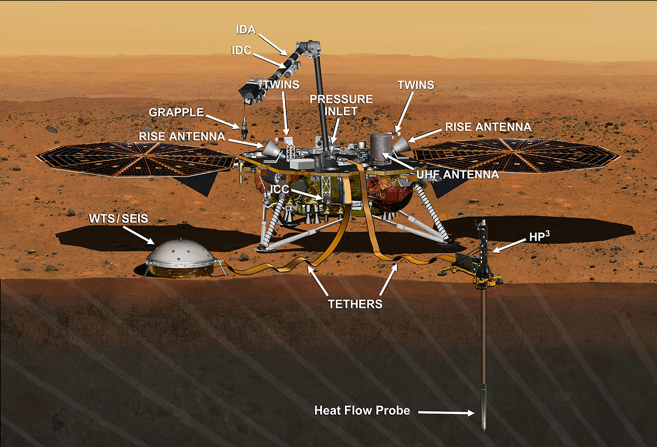 This artist's concept from August 2015 depicts NASA's InSight Mars lander fully deployed for studying the deep interior of Mars. Image Credit: NASA/JPL-Caltech