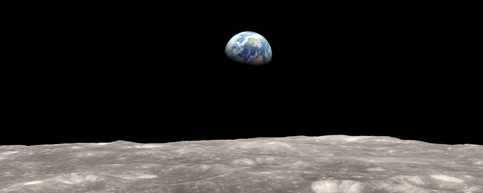 Lunar missions: Earthrise over Moon view from LRO