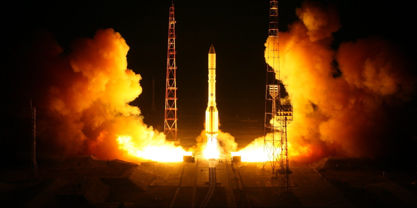 A file photo of a previous Proton-M launch. On Dec. 21, 2018, a Proton-M rocket sent the Blagovest-13L military communications satellite into a geostationary orbit. Photo Credit: Roscosmos