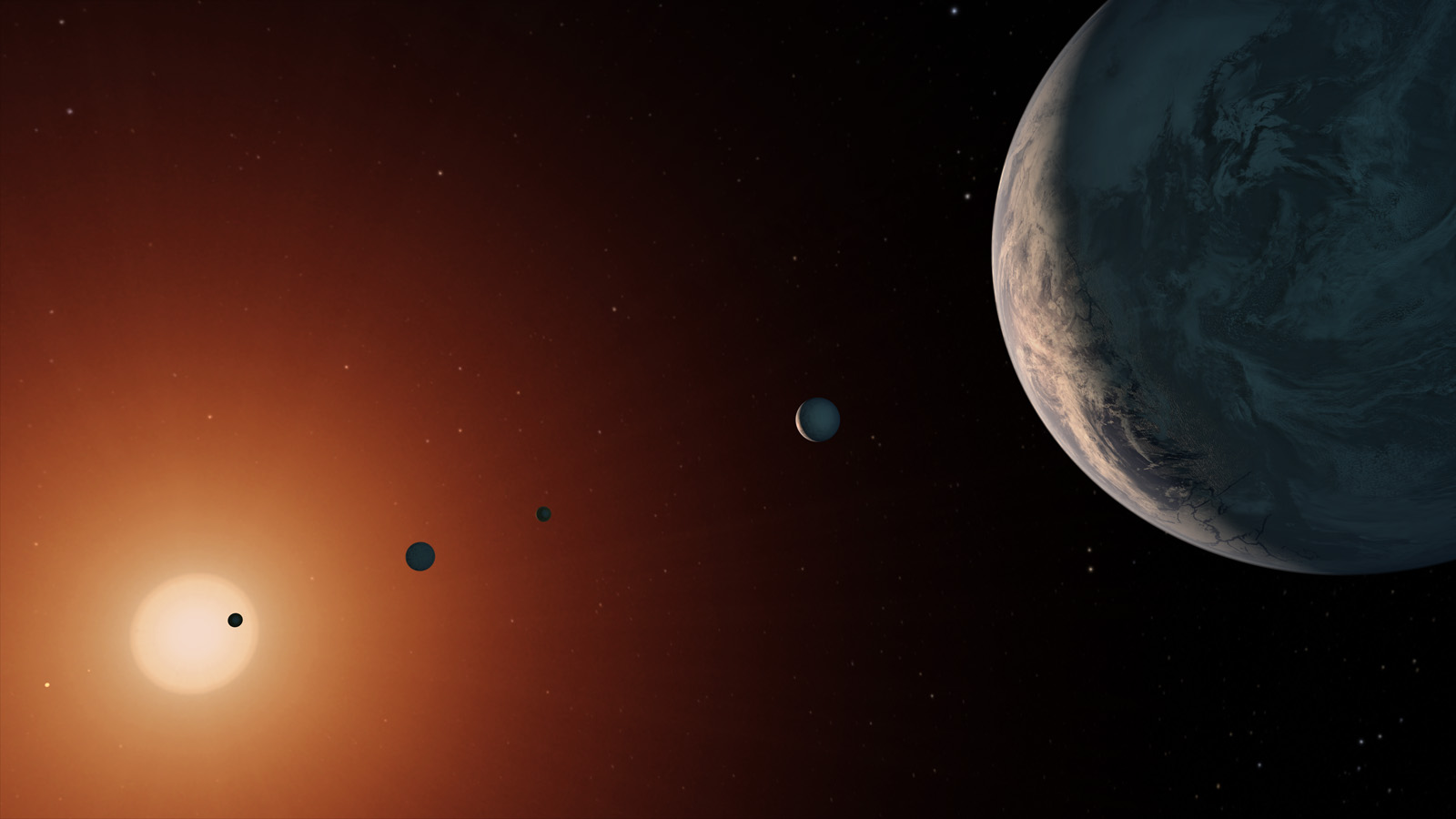 TRAPPIST-1 system (artist's rendition)
