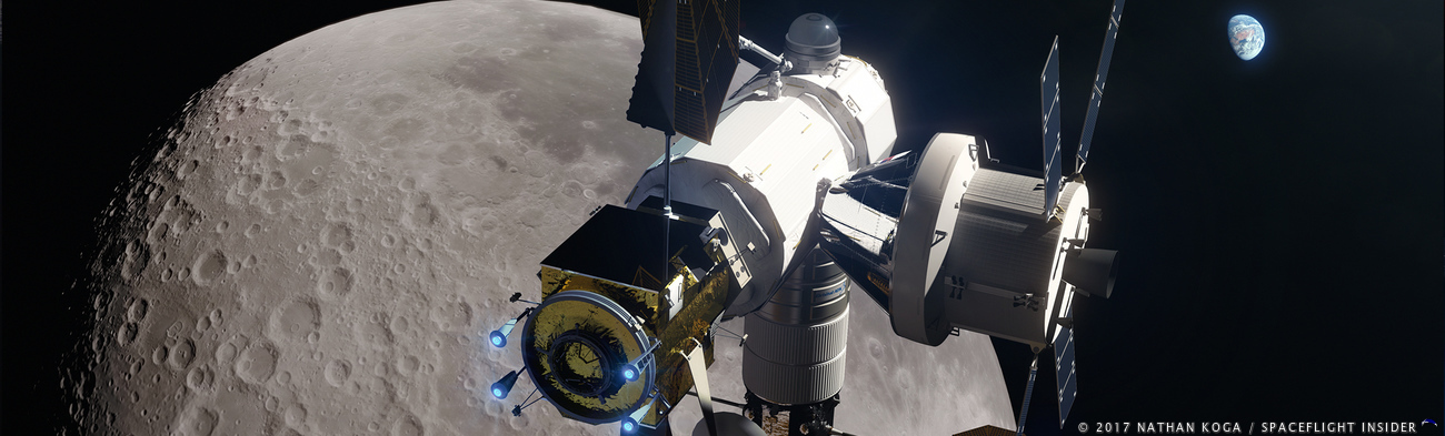 An artist's rendering of a version of NASA's lunar Gateway. Aerojet Rocketdyne is developing a propulsion system that could be used on the U.S. space agency's proposed deep space outpost. Image Credit: Nathan Koga / SpaceFlight Insider