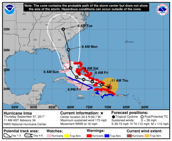 The forecast track for Hurricane Irma as of 11 a.m. EST Sept. 7. As of writing, Irma remained a Category 5 hurricane with maximum sustained winds of 175 mph. Image Credit: National Hurricane Center.