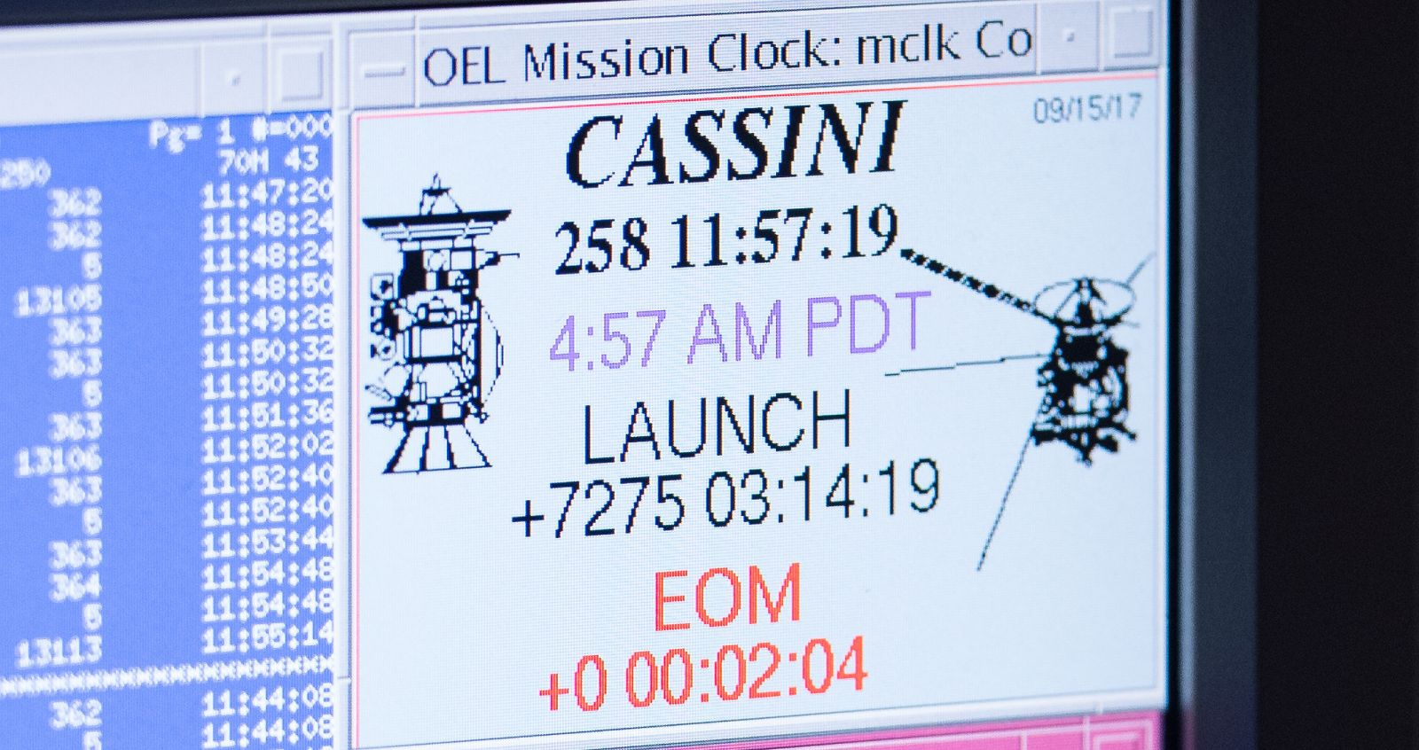 A computer screen in mission control displays mission elapsed time for Cassini minutes after the end of mission. Photo and Caption Credit: Joel Kowsky / NASA