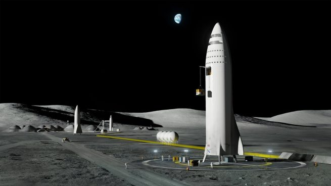 Musk said the BFR could be used for Moon exploration and development missions. Image Credit: SpaceX