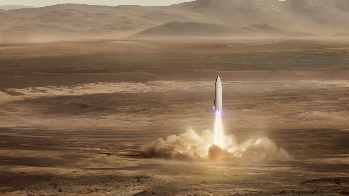 The main goal of the BFR is to support the colonization of the Red Planet. Image Credit: SpaceX