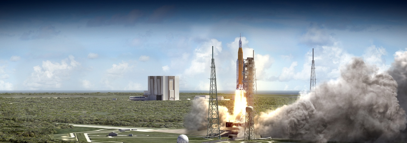 An artist's rendering of the first flight of SLS - EM-1. Image Credit: NASA