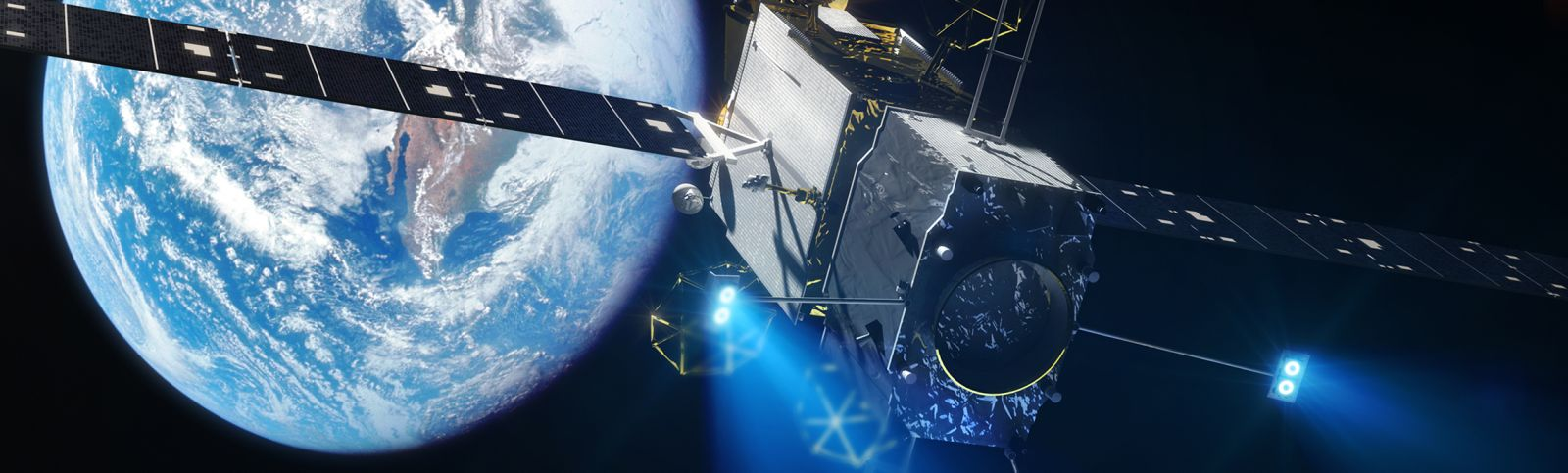 In this artist's depiction the MEV-1 spacecraft is attached to a customer's satellite and is performing its role in extending its operational life. Image Credit: Nathan Koga / SpaceFlight Insider