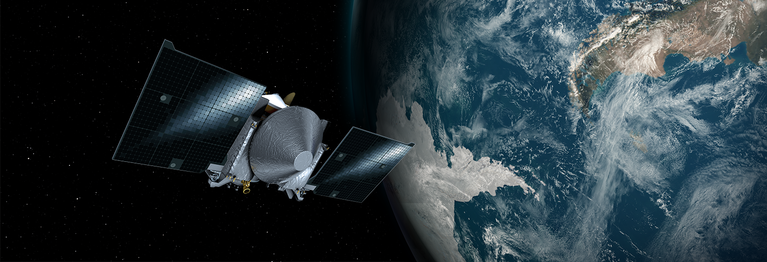OSIRIS-REx zips past Earth in this artist's depiction. Image Credit: NASA