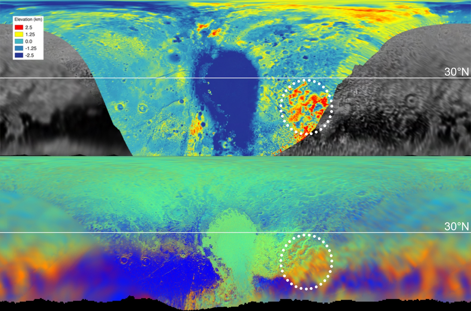Pluto topography and composition graphic