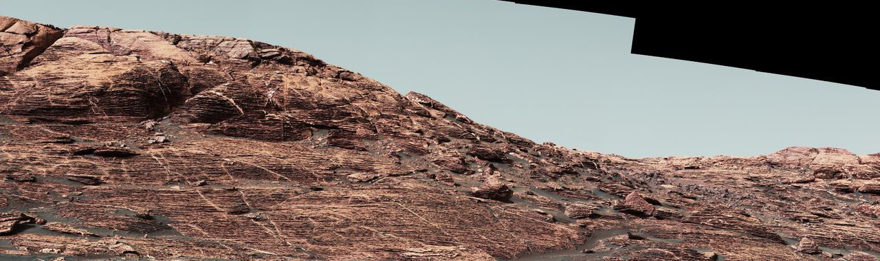"Researchers used the Mastcam on NASA's Curiosity Mars rover to gain this detailed view of layers in ""Vera Rubin Ridge"" from just below the ridge. Image Credit: NASA/JPL-Caltech/MSSS"