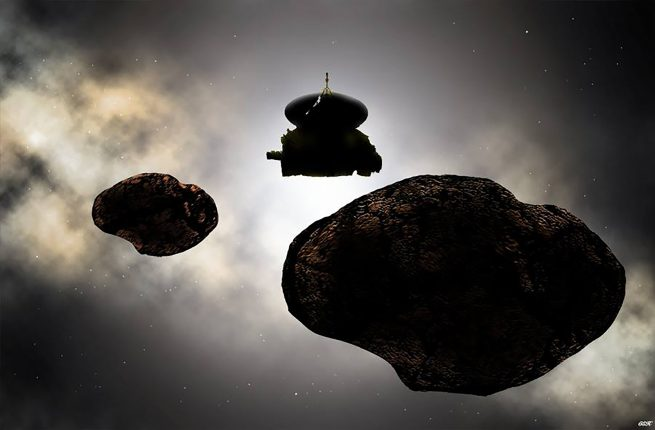 An artist's concept of NASA's New Horizons spacecraft flying by a possible binary 2014 MU69 on Jan. 1, 2019. Early observations of MU69 hint at the Kuiper Belt object being either a binary orbiting pair or a contact (stuck together) pair of nearly like-sized bodies with diameters near 20 and 18 kilometers (12 and 11 miles). Photo and Caption Credit: Carlos Hernandez