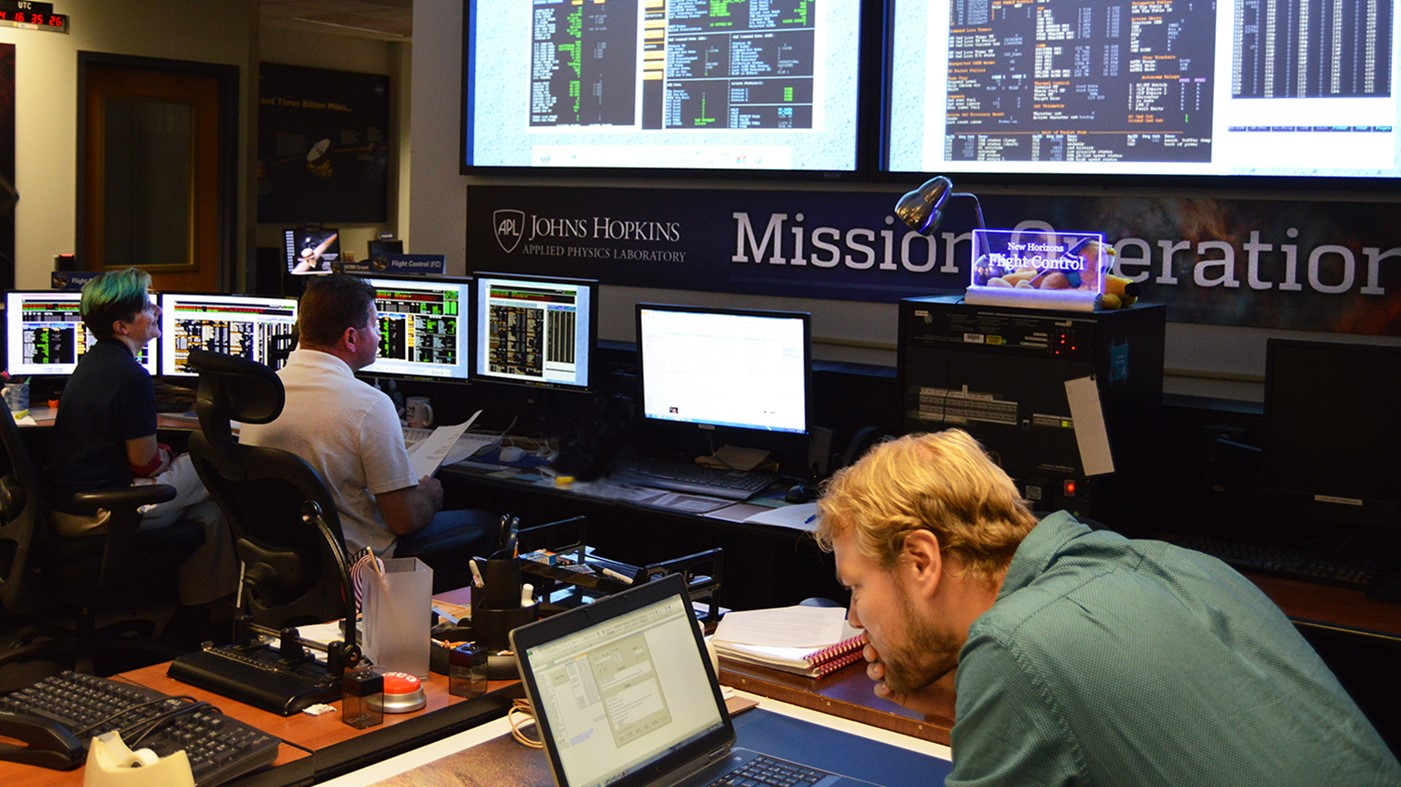 Flight controllers (from left) Katie Bechtold, Ed Colwell and Jon Van Eck, working in the mission operations center at the Johns Hopkins Applied Physics Laboratory in Laurel, Maryland, confirm data indicating that the New Horizons spacecraft had safely exited hibernation on Sept. 11, 2017. Photo and Caption Credit: NASA / JHUAPL / SwRI