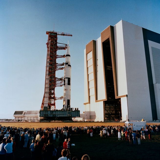 Saturn V rocket exits NASA's Vehicle Assembly Building at NASA's Kennedy Space Center in Florida. Photo Credit: NASA