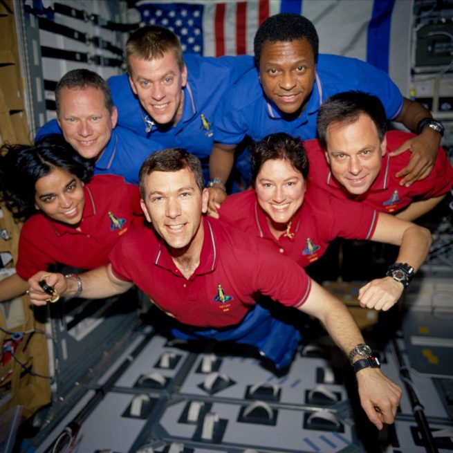 The crew of STS-107 were, from the left (bottom row), Kalpana Chawla, mission specialist; Rick D. Husband, commander; Laurel B. Clark, mission specialist; and Ilan Ramon, payload specialist. From the left (top row), David M. Brown, mission specialist; William C. McCool, pilot; and Michael P. Anderson, payload commander. Photo Credit: NASA / the crew of STS-107