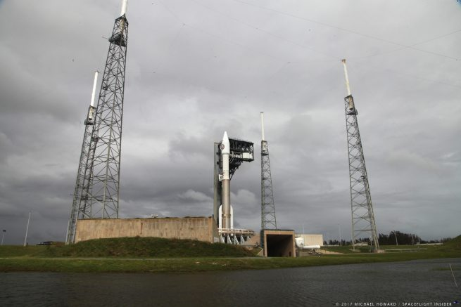 Weather was the primary concern for this morning's launch with blustery conditions, rain and wind lashing Florida's Space Coast. Photo Credit: Michael Howard / SpaceFlight Insider