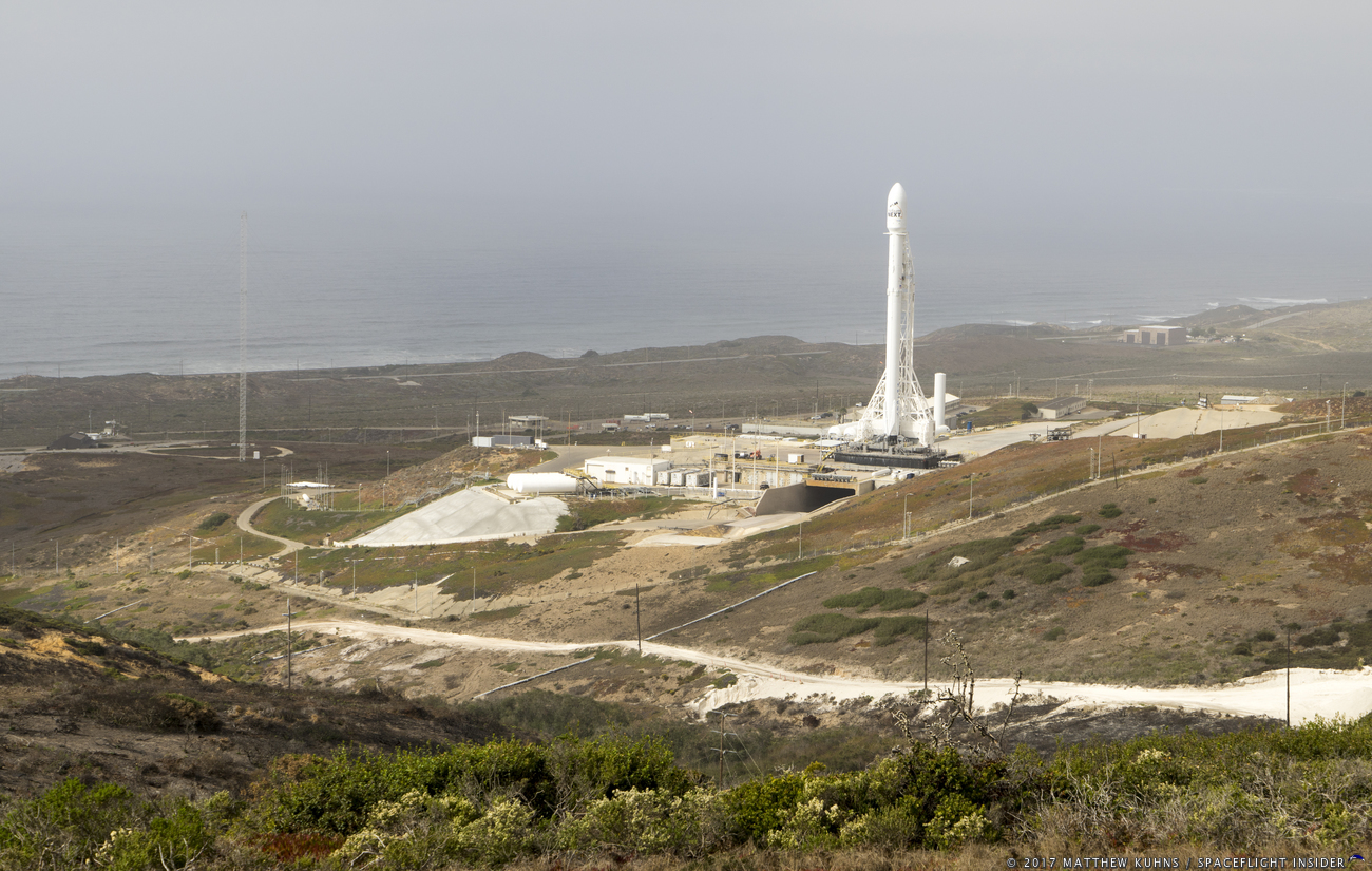 File photo of a Falcon 9 with the Iridium-3 mission awaiting launch at Space Launch Complex 4E at Vandenberg Air Force Base in California. The Iridium-4 mission is now scheduled for December 2017. Photo Credit: Matthew Kuhns / SpaceFlight Insider