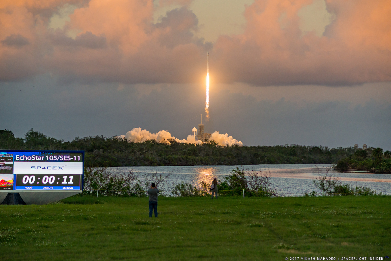 SpaceX launches the SES-11/EchoStar 105 satellite. Photo Credit: Vikash Mahadeo / SpaceFlight Insider
