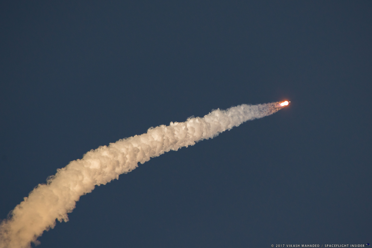 The Falcon 9 soars skyward with SES-11. Photo Credit: Vikash Mahadeo / SpaceFlight Insider