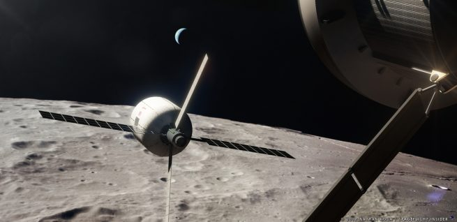 A Bigelow B330 in lunar orbit. Image Credit: Nathan Koga / SpaceFlight Insider