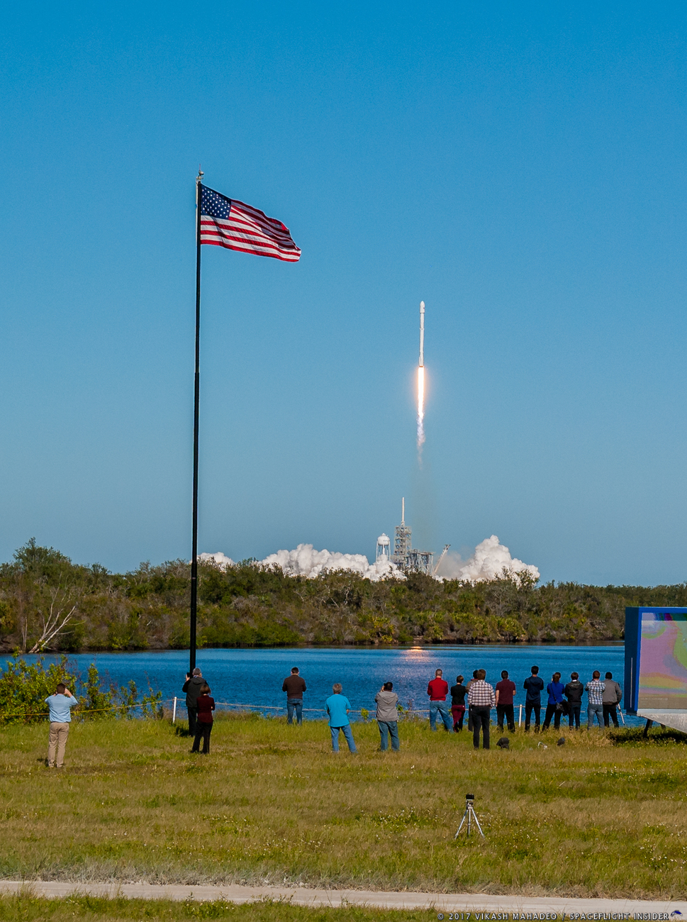 This afternoon's mission saw a new Falcon 9 first stage conduct a successful landing on the Of Course I Still Love You Autonomous Spaceport Drone Ship (ASDS). Photo Credit: Vikash Mahadeo / SpaceFlight Insider