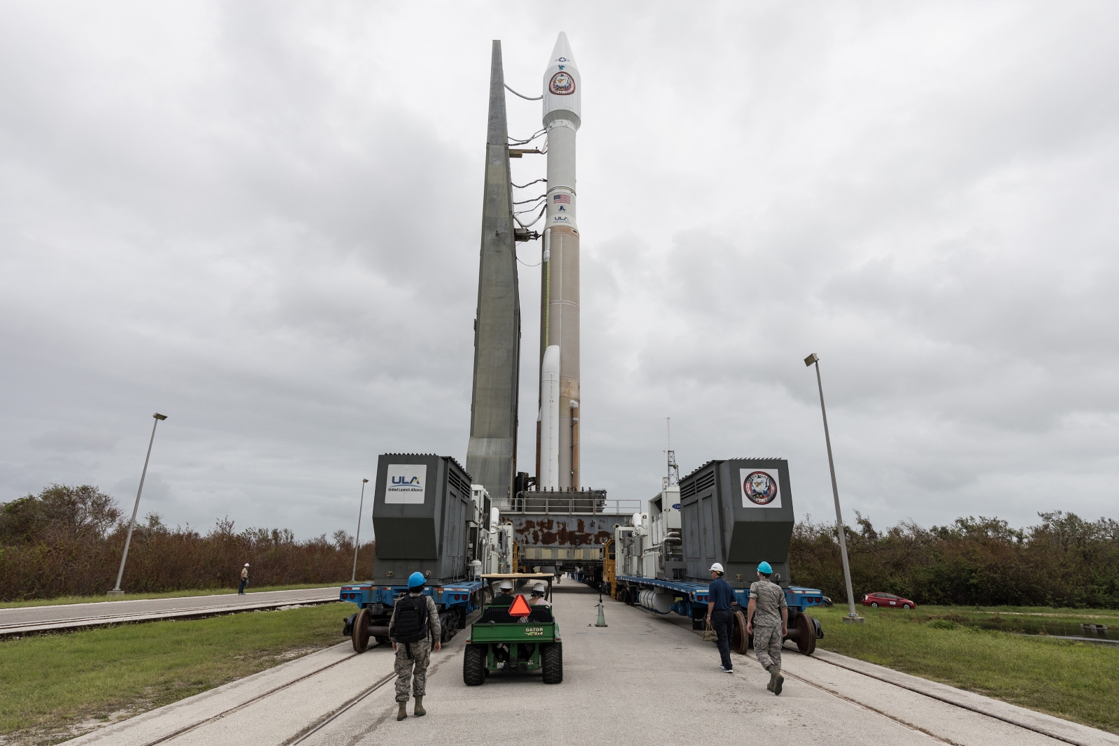 An Atlas V rocket is rolled to the pad at Space Launch Complex 41. Launching in the 421 configuration, the Atlas V is carrying the NROL-52 mission for the National Reconnaissance Office. Photo and Caption Credit: ULA