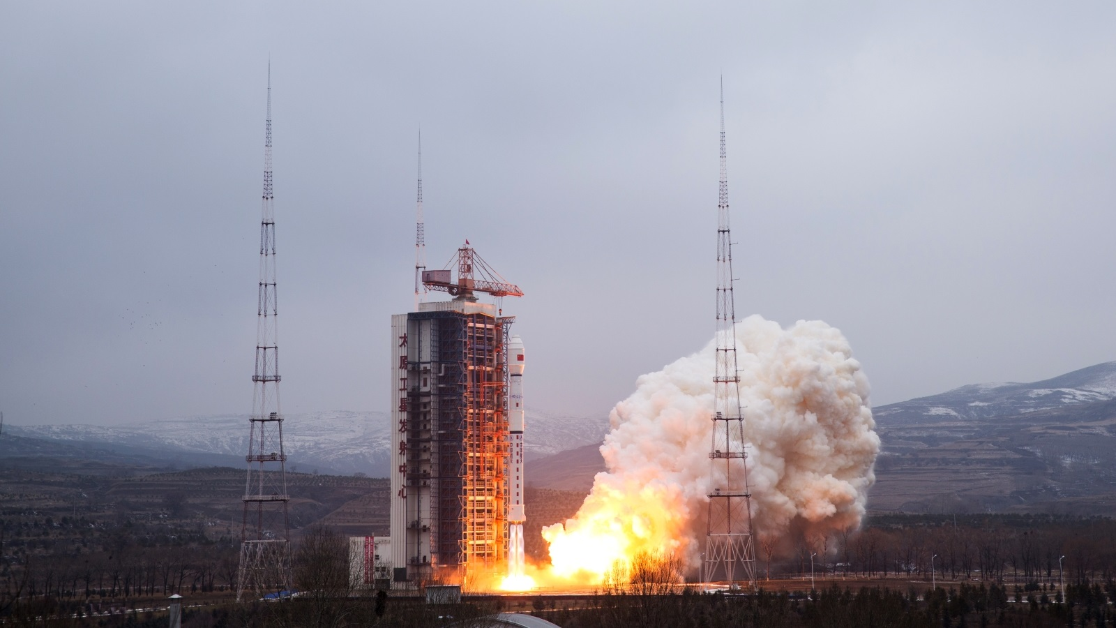 A Long March 4B rocket carrying the Yaogan 28 satellite blasts off from the  Taiyuan Satellite