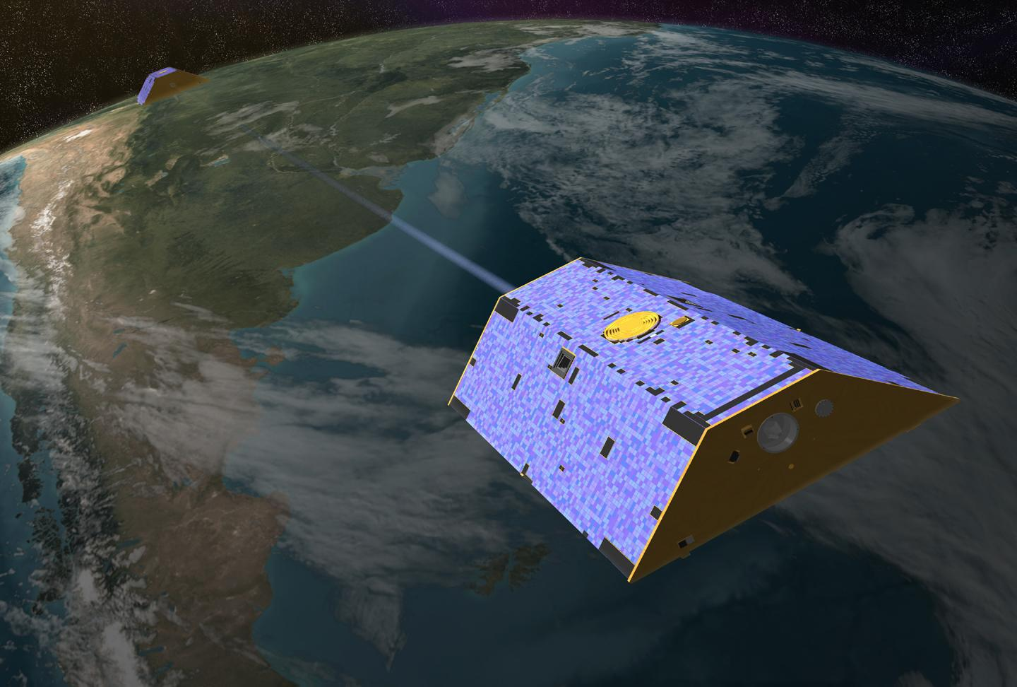 Gravity Recovery and Climate Experiment (GRACE) satellites on orbit.