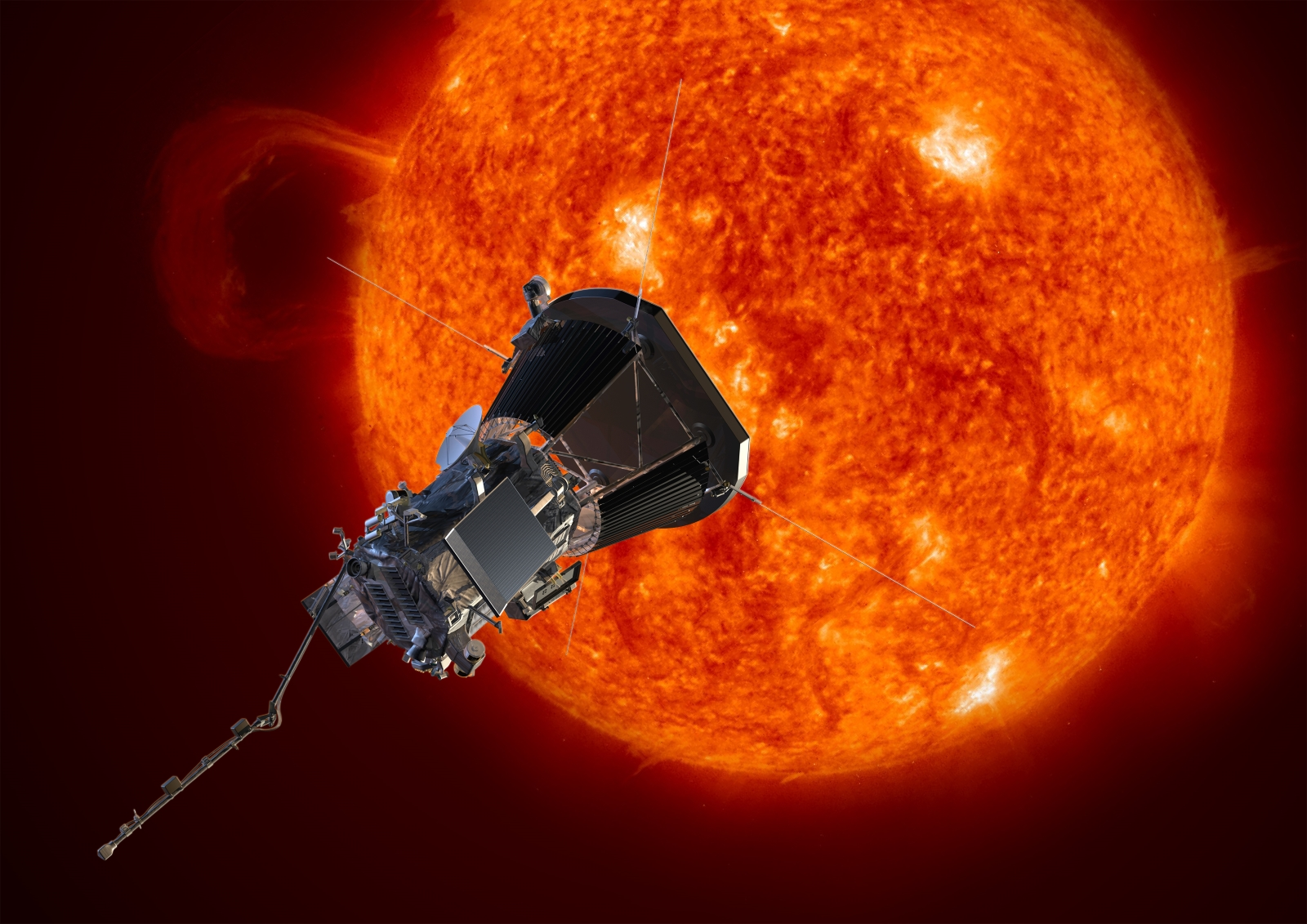 The Parker Solar Probe spacecraft approaching the Sun