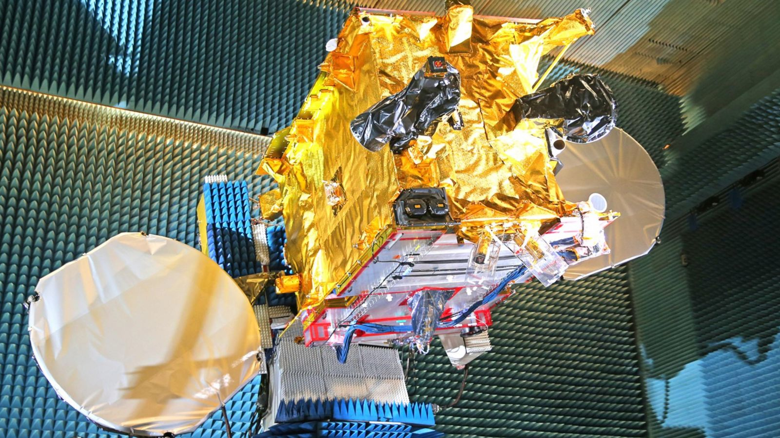 The SES-11 communications spacecraft undergoes testing. Photo Credit: SES