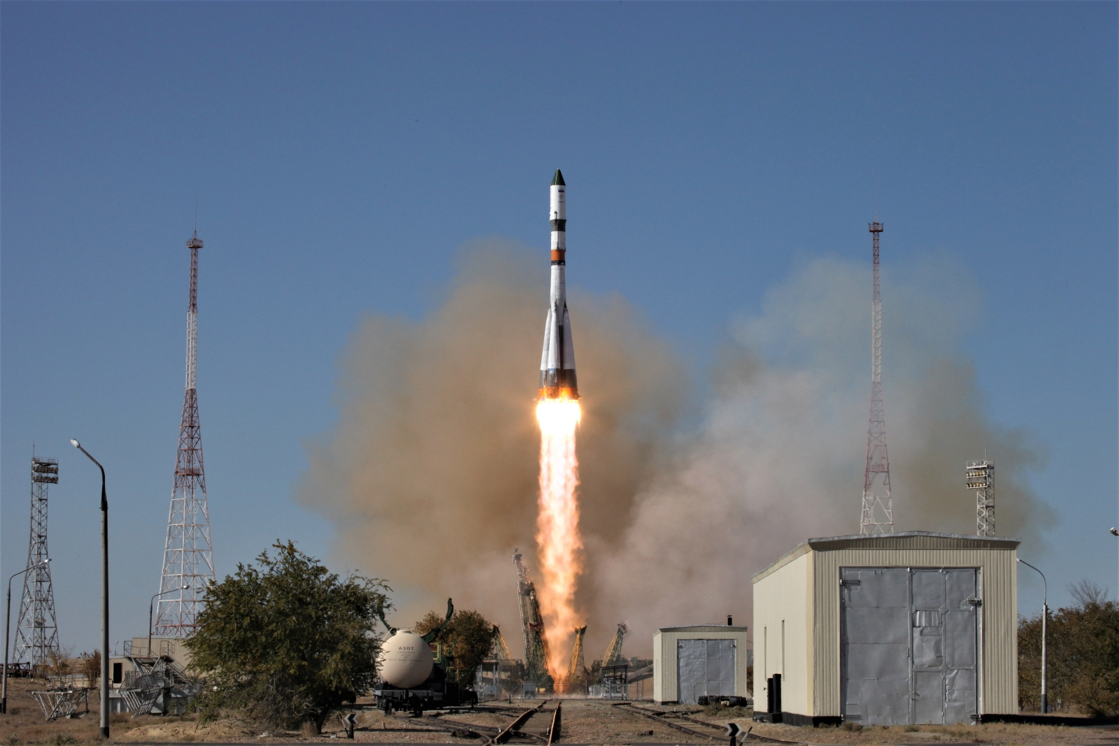 A file photo of a previous Soyuz 2.1a rocket launching a Progress cargo ship. Progress MS-11 launched atop the same type of vehicle on April 4, 2019. Photo Credit: Roscosmos