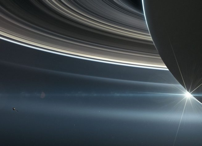 The Cassini spacecraft in orbit above the Planet Saturn image credit NASA JPL