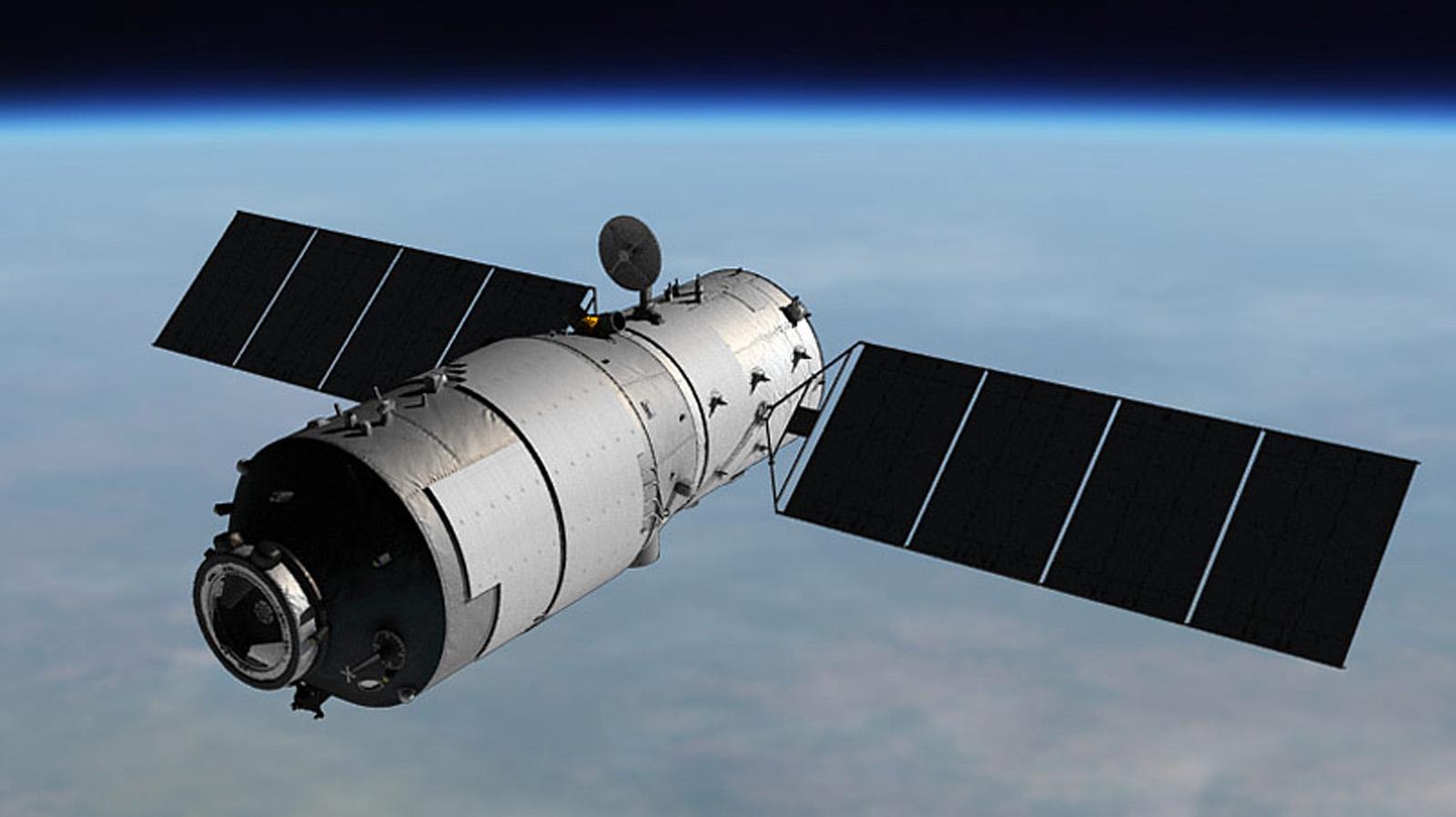 Renderização artística da Tiangong-1 na órbita terrestre. Crédito de Imagem: CNSA